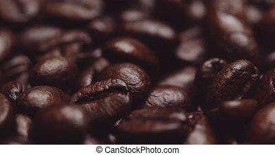 rôti, haricots, frais, café, sombre, express, gros plan,...