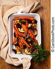 rôti, légumes