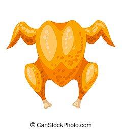 rôti, llustration., poulet entier