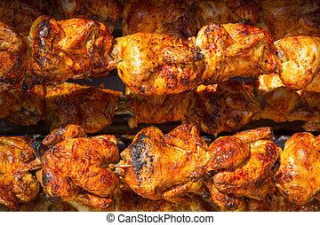 rôtissoire, poulet, rang, tourner, rôti