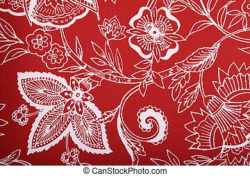 röd, årgång, tapet, med, vit, vinjett, viktorian, mönster