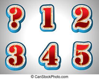 röd, 3, alfabet, med, stor, dopfunt, stil