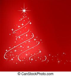 röd, abstrakt, vinter, bakgrund, med, stjärnor, julgran