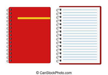 röd, anteckningsböcker