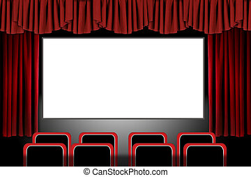 röd, arrangera, kläda, in, a, film teater, setting:,...