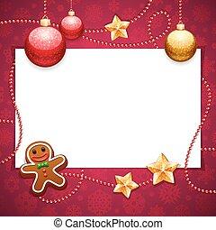röd, avskrift, jul, bakgrund, utrymme