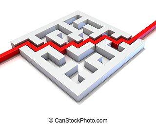 röd, bana, gå, genom, labyrint