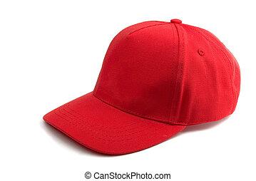 röd, baseballmössa