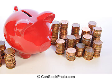 röd, besparing, bank