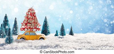 röd bil, bärande, jul gåvor, in, snöig, landskap