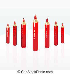 röd, blyertspenna