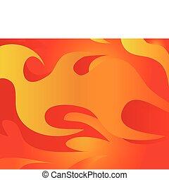 röd, brännande, vector., flame.