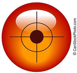 röd, bullseye, eller, måltavla, nät, knapp, eller, ikon