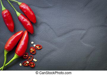 röd, chili peppar, mat fond