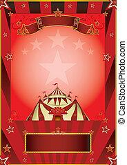 röd, cirkus, årgång, affisch