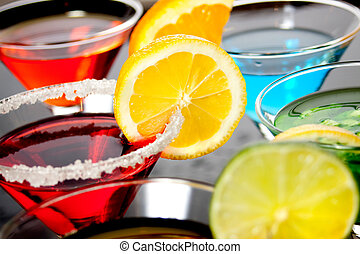 röd, cocktail, dricka
