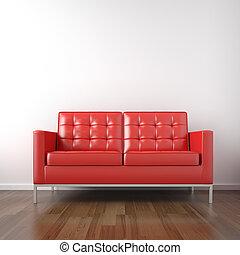 röd, couch, in, vita rum