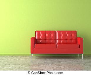 röd, couch, på, grönt vägg