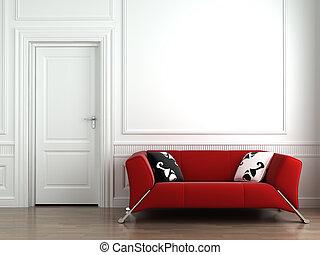 röd, couch, vita, inre, vägg