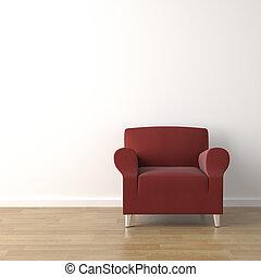 röd, couch, vita, vägg