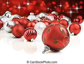 röd, dekorativ, jul ornamenter, med, stjärna, bakgrund
