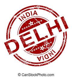 röd, delhi, stämpel