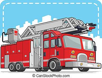 röd, eld transportera, eller, brandbil