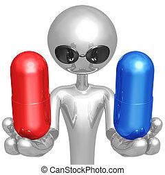 röd, eller, blå, pill