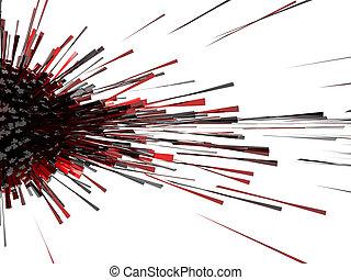röd, explosion, 3, abstrakt
