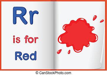 röd, färg, plaska, på, a, bok