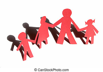 röd, familj, från, papper, 2