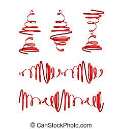 röd, festlig, banderoller