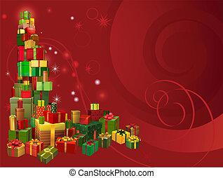 röd fond, gåva, jul