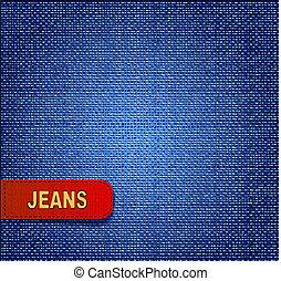 röd fond, jeans, etikett