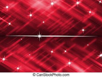 röd fond, med, stjärna, glitter, abstrakt