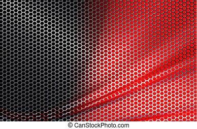 röd, geometrisk, bakgrund, med, vågig, metall, skyddsgaller