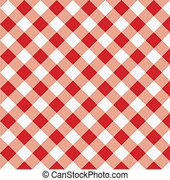 röd, gingham, tyg, struktur