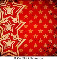 röd grunge, bakgrund, med, stjärnor