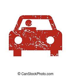 röd grunge, bil, logo