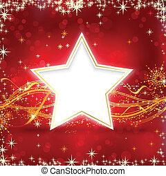 röd, gyllene, jul, stjärna, bakgrund