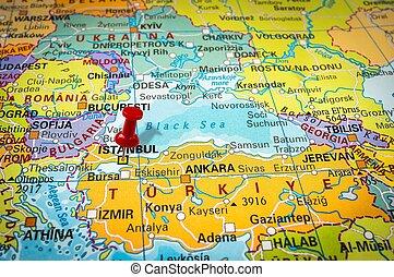 röd, häftstift, in, a, karta, pushpin, pekande vid, istanbul