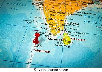 röd, häftstift, in, a, karta, pushpin, pekande vid, maldiverna