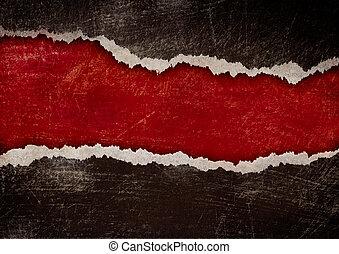 röd, hål, med, sönderrivet, bryn, in, svart, grunge, papper