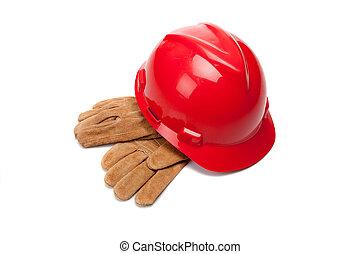 röd, hård hatt, och, läder, arbete handske, vita