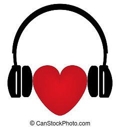 röd, hörlurar, hjärta