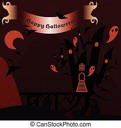 röd, halloween, slott, med, a, text, baner