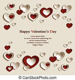 röd, hearts.eps, beige fond, valentinkort
