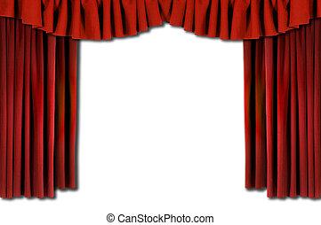 röd, horozontal, draperat, teater, ridåer