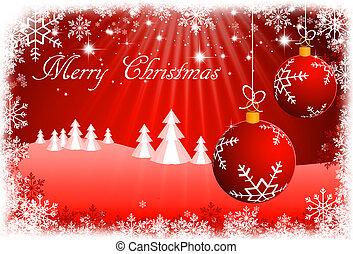 röd, jul, bakgrund, med, jul ornamenter