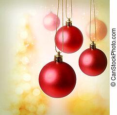 röd, jul ornamenter